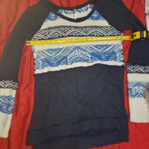 Free People Blue White Distressed Nordic Sweater